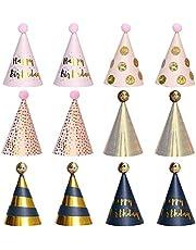 12 stuks Happy Birthday partyhoeden, feesthoeden, verjaardagsdecoratieset plezier verjaardag party hoeden partyhoedjes set partyhoedjes verjaardag party kegel hoeden met pompons voor kinderen en volwassenen
