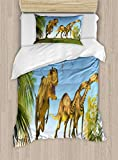 Lunarable Jurassic Duvet Cover Set, 2 Massospondylus Running for Their Lives Yangchuanosaurus Hunting, Decorative 2 Piece Bedding Set with 1 Pillow Sham, Twin Size, Deep Sky Blue Multicolor