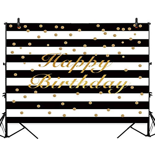 Allenjoy 7x5ft Polyester Black and White Stripe Gold Birthday Party Backdrop Glitter Dots Adult Sweet 16 Banner Cake Table Decorations Photography Background Photo Studio Booth Props