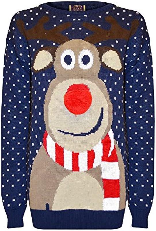 Męska damska retro Boże Narodzenie Rudolf renifer pompon nos nowość zima sweter bluza, kolor: grantowy , rozmiar: l: Odzież