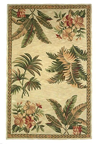 Wool Tropical Floral Area Rug - KAS Oriental Rugs Sparta Collection Tropical Oasis Area Rug, 3'6