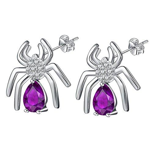 Amethyst Halloween Spider Earrings Studs