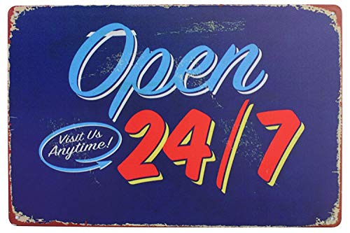 Open Visit Us Anytime 24/7, Metal Tin Sign, Vintage Style Wall Ornament Coffee & Bar Decor, Size 8
