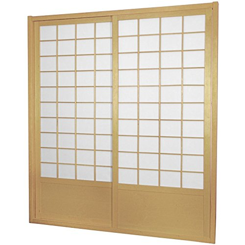 Oriental Furniture 7 ft. Tall Zen Shoji Sliding Door Kit (Double - Sided) - Natural