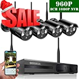 Wireless Security System,Wireless Home Security Camera,8-Channel HD 1080P NVR with 4Pcs 960P Wireless