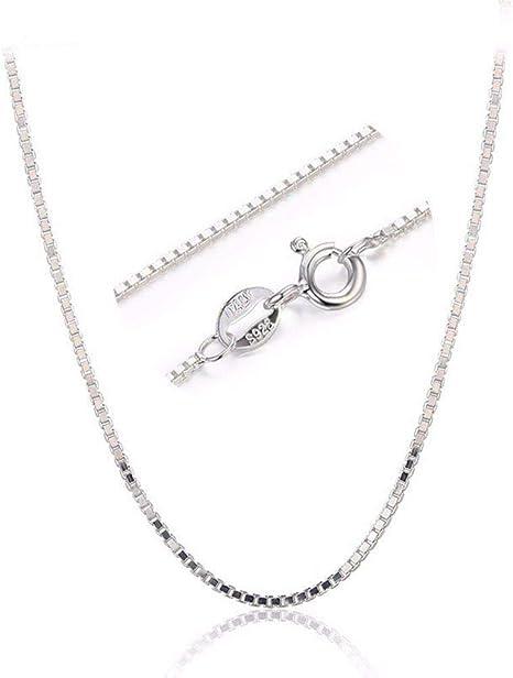 WJsbxx Collares Mujer Sólido Puro 925 Caja De Plata Collar De ...