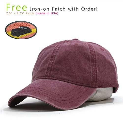 Plain Washed Dyed Cotton Twill Low Profile Adjustable Baseball Cap (Maroon) ()