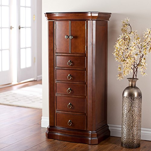 Stylish Bedroom Or Living Room Jewelry Storage Armoire With Robust Engineered Wood Construction, Handsome Mahogany Finish, Bronze Hardware, Lined In Soft Cream-Colored Felt For Protection ()