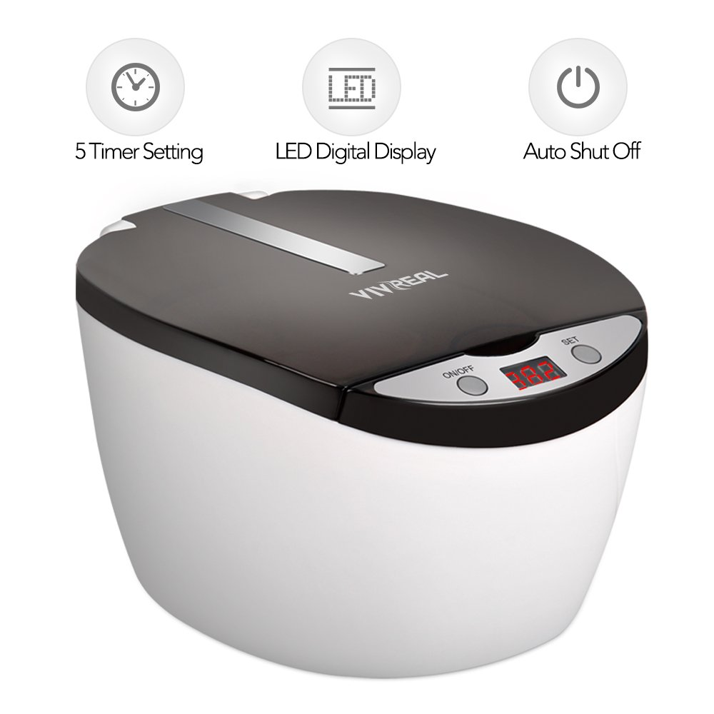 Ultrasonic Cleaner - Jewelry Cleaner CD Cleaner Denture Cleaner with Timer Setting, Ultrasonic Cleaner for Watches, Eyeglasses with Strict Quality Standard 304 Stainless Steel Liner 25 Ounces Capacity