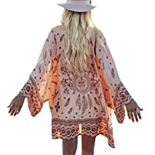 Yonala Womens Printed Beachwear Summer Chiffon Swimsuit Cover Up Kimono Cardigan