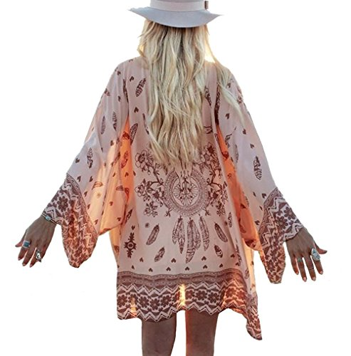 Yonala Womens Printed Beachwear Summer Chiffon Swimsuit Cover Up Kimono Cardigan