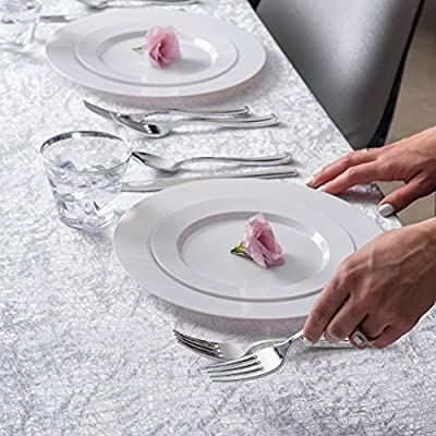 Service for 25 Guests Disposable Plates for Party Fancy Disposable Plates with Cutlery Receptions Silver Rim Buffets 125 Piece Silver Plastic Party Plates and Silverware for Weddings