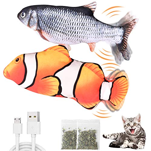 CovertSafe 2-Pack Moving Cat Kicker Fish Toy,Dog Toys Fish Moving Fish Cat Toy,Wiggle Fish Catnip Toys, Interactive Cat Toy, Realistic Flopping Fish, Fun Toy for Cat Exercise