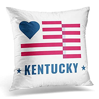 TOMKEYS Throw Pillow Cover Love Kentucky State with Usa Flag Flat on White Public Holidays in the United States Also for About Decorative Pillow Case Home Decor Square Pillowcase