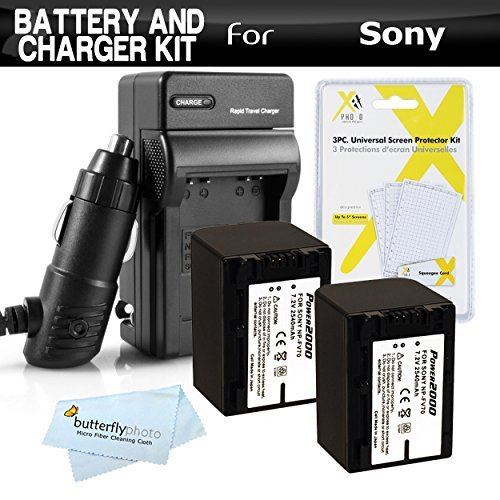 2 Pack Battery And Charger Kit For Sony HDR-CX230, HDR-CX230
