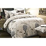 Floral Duvet Cover Set King, 100% Soft Cotton Bedding, Botanical Flowers Pattern Printed, with Zipper Closure (3pcs, King Size)