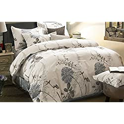 Wake In Cloud - Duvet Cover Set, 100% Cotton Bedding, Botanical Floral Flowers Pattern Printed, with Zipper Closure (3pcs, Twin Size)