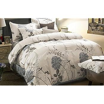 100 cotton 3pcs duvet cover and shams bedding set botanical floral flowers printed queen size - Queen Size Duvet Cover