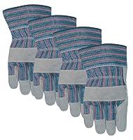 MidWest Gloves and Gear Midwest Gloves and Gear 7731P04-L-AZ-6 Suede Cowhide Work Glove, Large, 4-Pack