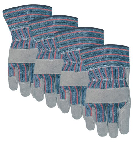MidWest Gloves and Gear Midwest Gloves and Gear 7731P04-L-AZ-6 Suede Cowhide Work Glove, Large, (Cowhide Striped Gloves)