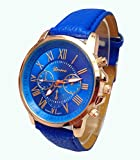 PromiseU Geneva Women's Fashion Classic Leather Quartz Wrist Watch