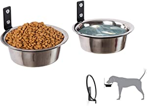 Dog Bowls Collapsible Customized Height Wall Mounted Elevated Pet Feeder,with 2 Stainless Steel Bowls for cats Dogs,Adjustable height Wall Mounted,Strong durable-Easy to clean-improve digestion(7inch)