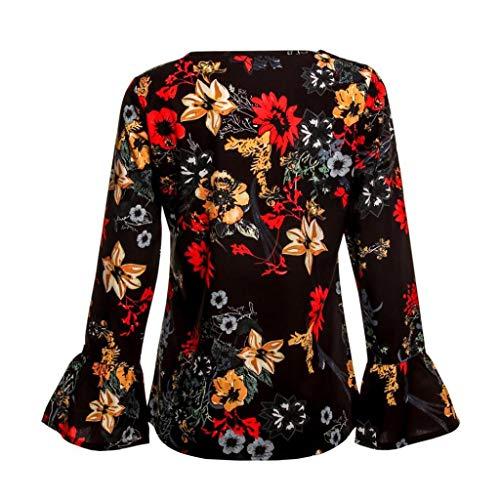 Femme De Manches Longues Soie Chemise Courte Shirt Manche T Imprim Trydoit Orange en Floral Mousseline qPgYRYx