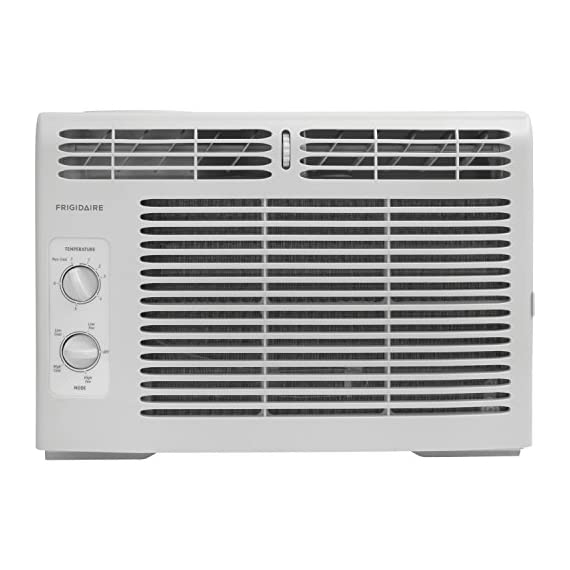 Frigidaire FFRA0511R1E 5, 000 BTU 115V Window-Mounted Mini-Compact Air Conditioner with Mechanical Controls 2 5,000 BTU mini-compact air conditioner for window-mounted installation uses standard 115V electrical outlet (Window mounting kit included) Quickly cools a room up to 150 sq. ft. with dehumidification up to 1.1 pints per hour Mechanical rotary controls, 2 cool speeds, 2 fan speeds, and 2-way air direction.Accommodates windows with a minimum height of 13 inches and width of 23 inches to 36 inches
