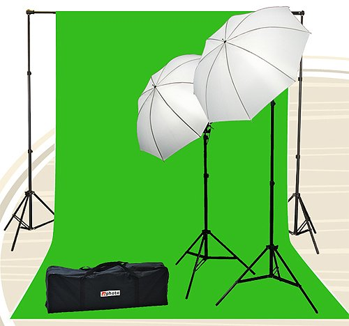 Chroma Key Kits - Fancierstudio Chromakey Green Screen Kit 800 watt 10x20 Ft Chroma Key Green Screen Photo Video Lighting Kit Backdrop Support System Included Ul15 10x20 Green By Fancierstudio U15 10x20 Green