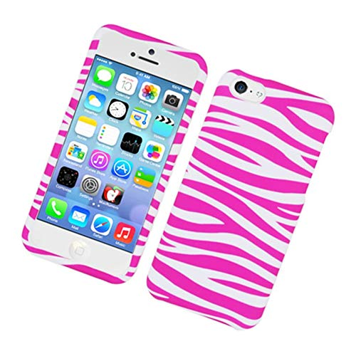Insten Zebra Rubberized Hard Snap-in Case Cover Compatible with Apple iPhone 5C, Hot Pink/White