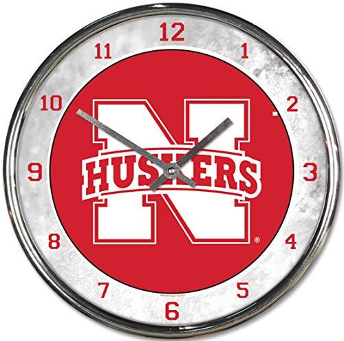 - NCAA Nebraska Cornhuskers Chrome Clock, 12