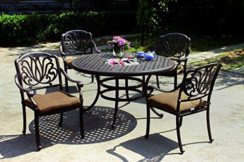Darlee Elisabeth 5-Piece Dining Set/Seat Cushions and 52-Inc