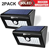 Juzihao 2PACK Upgrade Super Bright 50 LED Outdoor Solar Motion Sensor Light, Waterproof Wireless Bright Security LED light For Patio, Deck, Yard, Garden, Home, Driveway, Stair, Wall