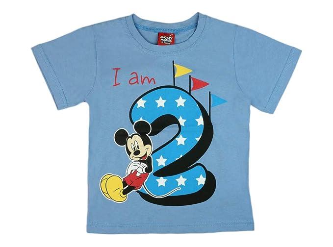 Camiseta para niño, para Segundo cumpleaños, de Manga Corta, de algodón, Talla 92-98, con diseño de Mickey Mouse de Disney, en Blanco o en Azul
