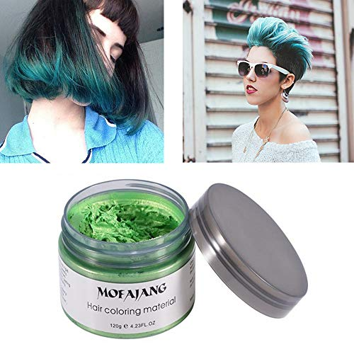 MOFAJANG Green Hair Color Wax, Natural Hairstyle Wax 4.23 oz, Temporary Hairstyle Cream for Party, Cosplay, Halloween, Daily use, Date, Clubbing (Green)