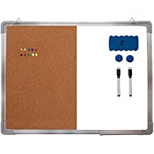 """Combination Whiteboard Bulletin Board Set - Dry Erase/Cork Board 24 x 18"""" + 1 Magnetic Dry Eraser, 2 Black Markers, 2 Magnets and 10 Color Pins - Small Combo Tack White Board for Home Office Desk"""