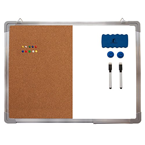"Whiteboard Bulletin Board Set - Dry Erase / Cork Board 24 x 18"" + 1 Magnetic Dry Eraser, 2 Dry-erase Black Marker Pens, 2 Magnets and 10 Color Pins - Small Tack White Board"