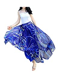 Afibi Mujer Completo Tobillo Longitud Mezcla Maxi Gasa Largo Falda Playa Falda