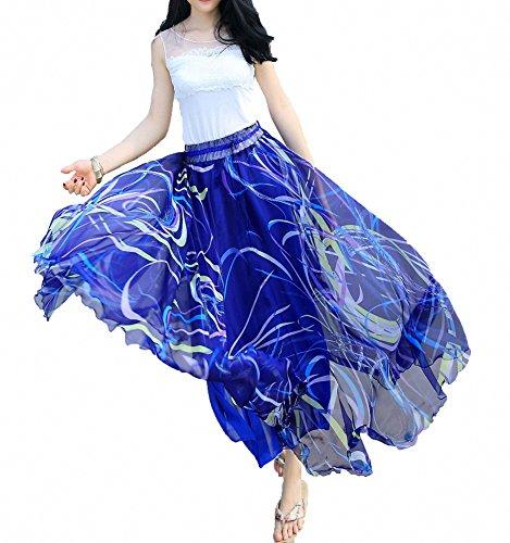 Long Casual Skirts - Afibi Women Full/Ankle Length Blending Maxi Chiffon Long Skirt Beach Skirt (Medium, Design G(4))