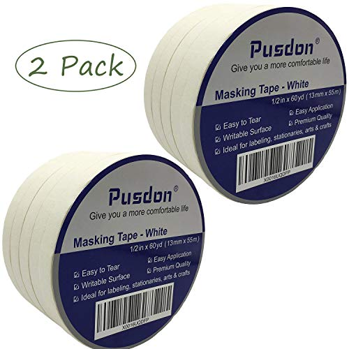 Masking Tape White 10 Rolls, 2 Pack, Each Roll 1/2-Inch x 60 Yards, Ideal for Label, Office, School, Arts & Crafts Use -