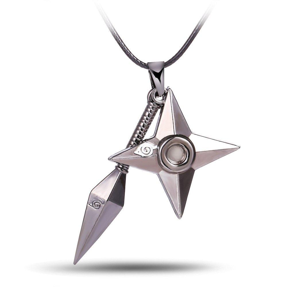 NCANGU Cosplay Anime Naruto Kunai Shuriken Ninja Star Necklace Pendant