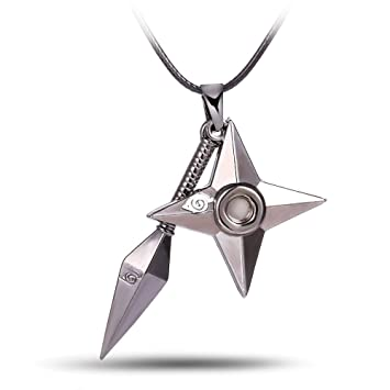 NCANGU Cosplay Anime Naruto Kunai Shuriken Ninja Star Necklace Pendant