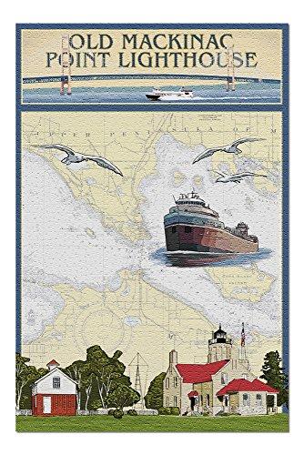 Mackinac Point Lighthouse - Mackinac, Michigan - Old Mackinac Point Lighthouse - Nautical Chart (20x30 Premium 1000 Piece Jigsaw Puzzle, Made in USA!)