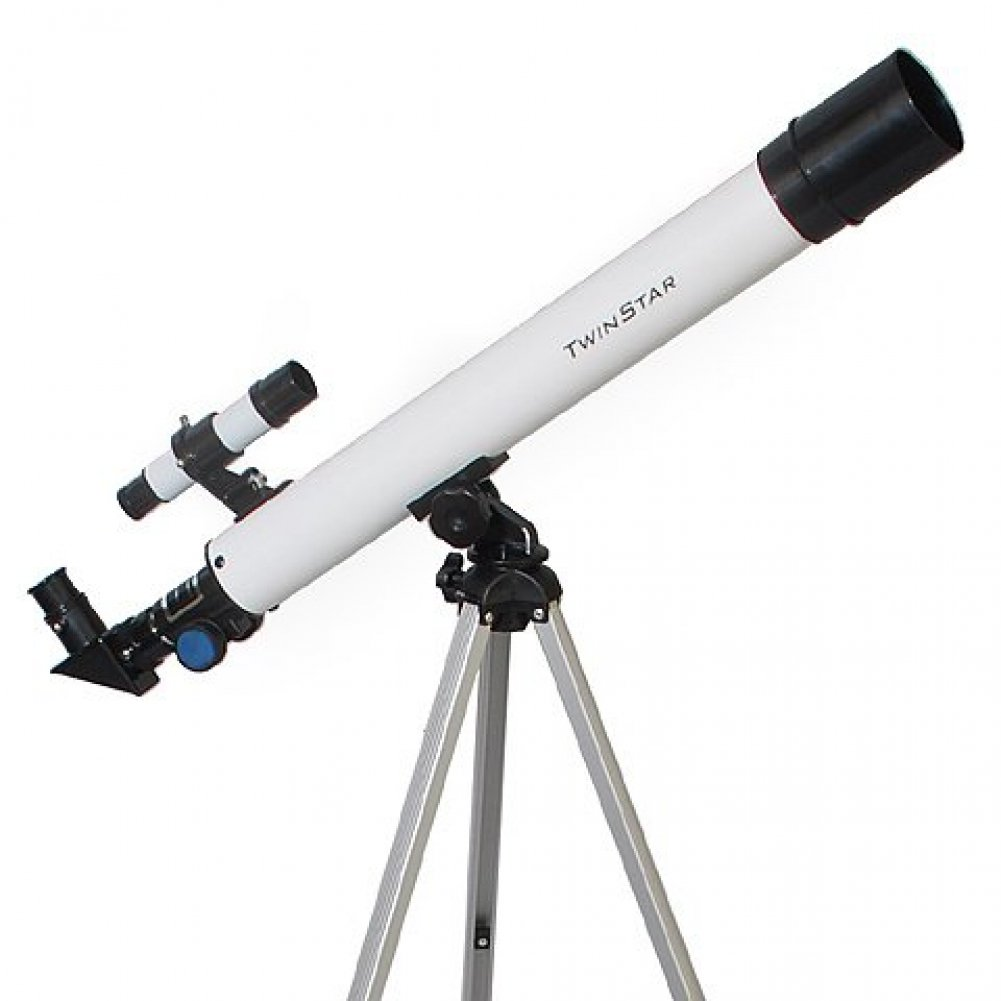 White TwinStar AstroMark 50mm 75x Power Refractor Telescope 615012Z