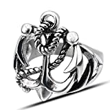LILILEO Jewelry Retro Stainless Steel Boat Anchor Titanium Steel Ring For Men's Rings