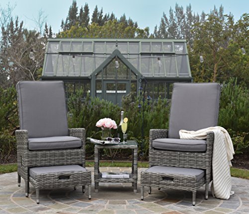 ELLE Décor Vallauris Outdoor 5-Piece Reclining Set - Outdoor Wicker (Set Reclining Ottoman)