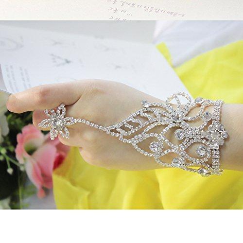Sunshinesmile Five-pointed Star Crystal Bracelet Bangle Slave Chain Link Finger Ring Bracelet Hand Harness