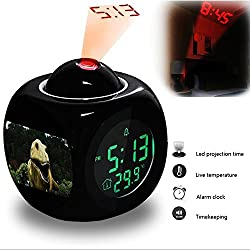 Projection Alarm Clock Wake Up Bedroom with Data and Temperature Display Talking Function, LED Wall/Ceiling Projection, Dinosaur-412.513_Dinosaur, Dino, T Rex, Jurassic Park