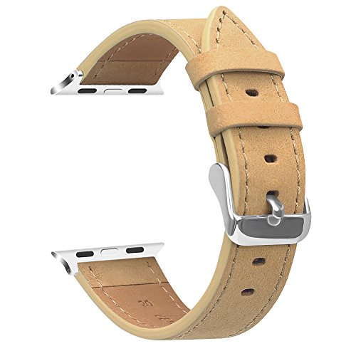 Fintie Band for Apple Watch 40mm 38mm, Genuine Leather Replacement Wrist Strap Compatible with Apple Watch Series 4 Series 3 Series 2 Series 1 - Camel