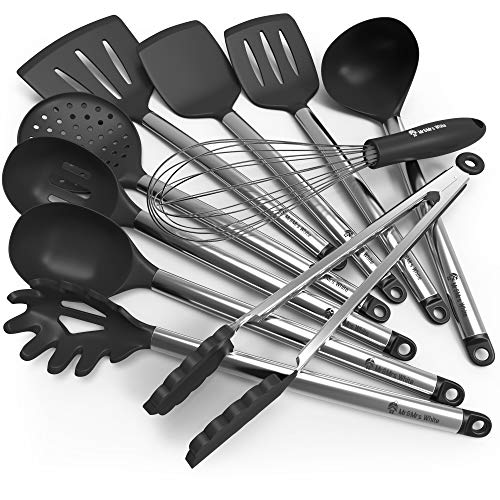 Stainless Steel Utensil (Kitchen Utensil Set - 10 Cooking Utensils - Nonstick Silicone and Stainless Steel Spatula Set - Best Kitchen Tools for Gift)